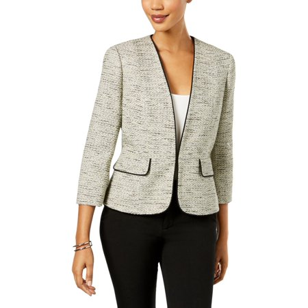Kasper Womens Tweed Contrast Trim Blazer