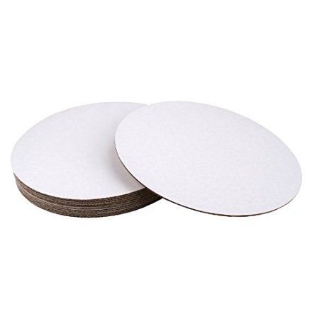 SafePro 7CC, 7-Inch White Round Corrugated Cardboard Circles, Cake Pie Bakery Paperboard Pads Trays (50)