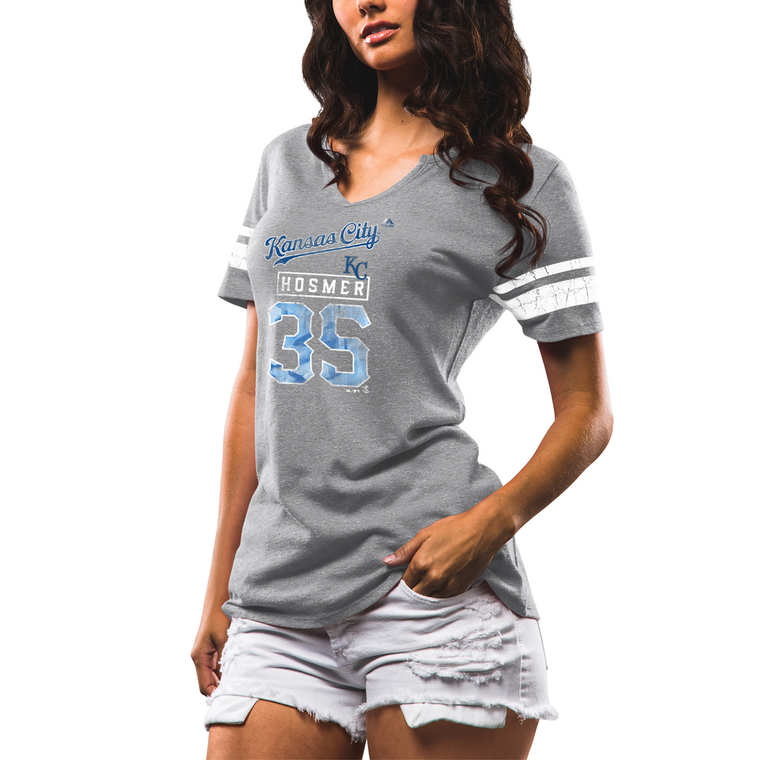 Women's Majestic Eric Hosmer Gray Kansas City Royals Knucklecurve V-Notch Tri-Blend T-Shirt