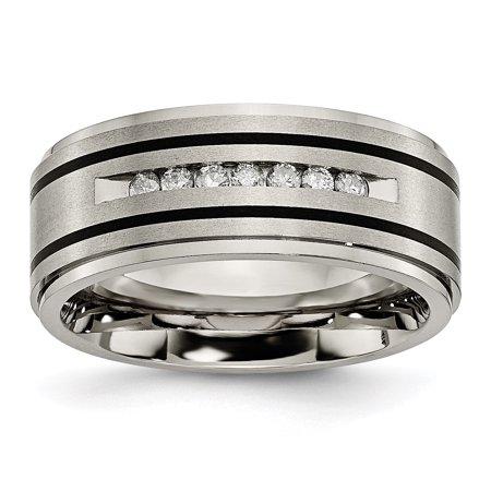 Titanium Polished/Brushed Enameled 1/4ct tw. Diamond 9mm Band Ring 8 to 13