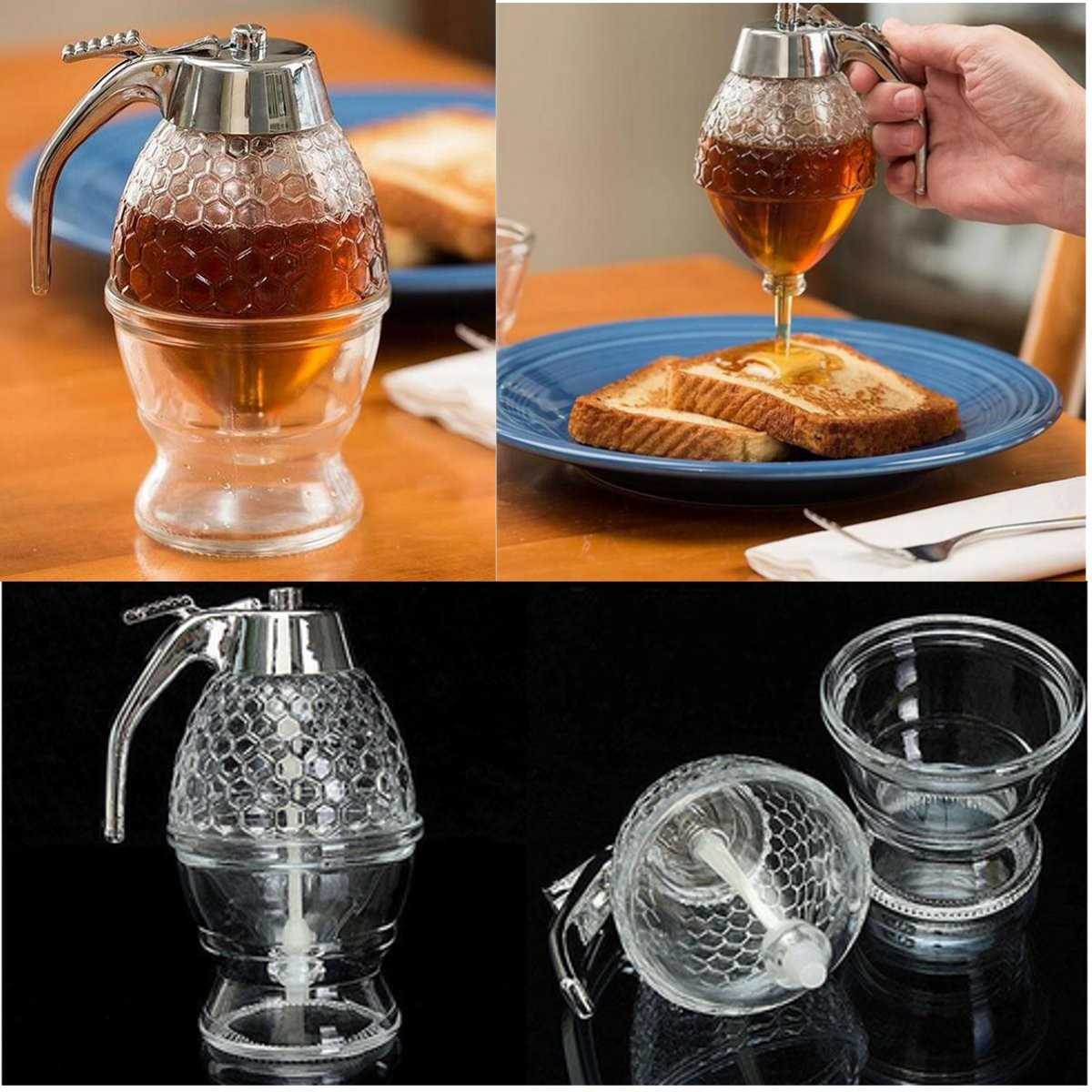 Honey Syrup Jar Dispenser Holds 1 Cup Acrylic Container Kitchen Storage w/ Stand