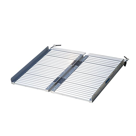 HOMCOM 2' Portable Textured Aluminum Folding Wheelchair Threshold Ramp