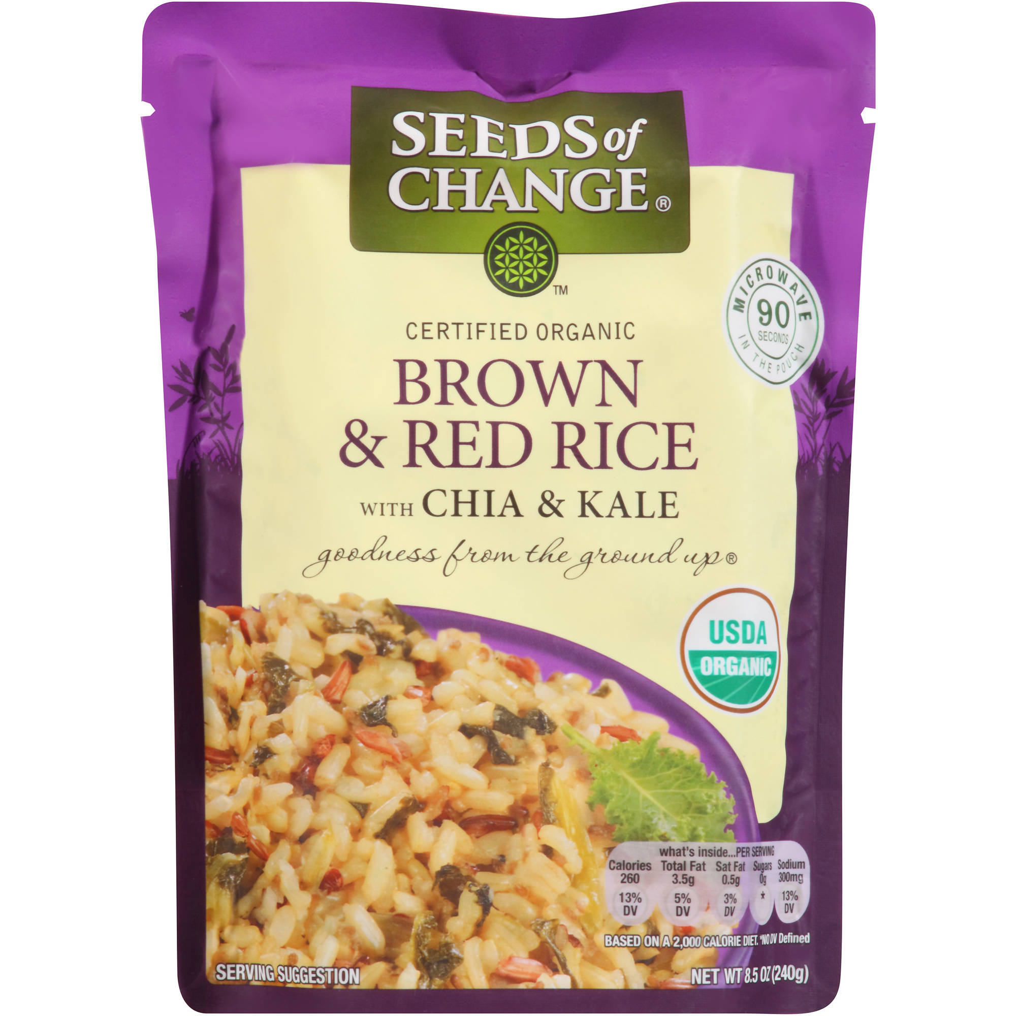Seeds of Change Organic Brown & Red Rice with Chia and Kale, 8.5 oz
