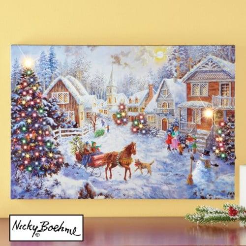 Merry Christmas Village Lighted Canvas Wall Art Walmart Com Walmart Com