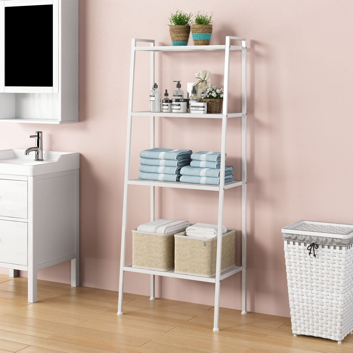 Wire Shelving Unit 4 Tier Kitchen Storage Rack Metal Shelving Unit For Kitchen Pantry Laundry Garage Closet Utility Ladder Shelf Bookcase Plant Stand For Office Bathroom Living Room Balcony Walmart Com Walmart Com