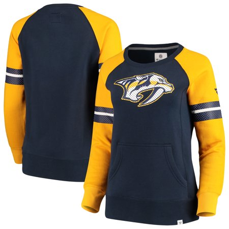 Nashville Predators Fanatics Branded Women's Iconic Fleece Sweatshirt - Navy/Gold (Fleece Nashville Predators Sweatshirt)