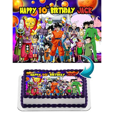 Dragon Ball Super, Goku, Vegeta, Gohan, Anime, Dragon ball Z Edible Cake Topper Personalized Birthday 1/2 Size Sheet Decoration Party Birthday Sugar Frosting Transfer Fondant Image