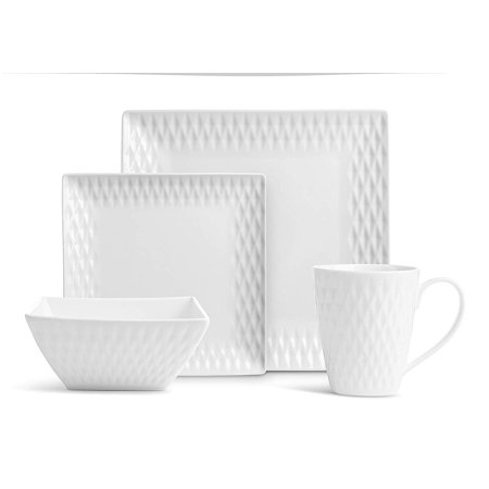 32 Pc. Square Diamand Porcelain Dishes Set – White Dinner Plates, Bowls, Coffee Cups ()