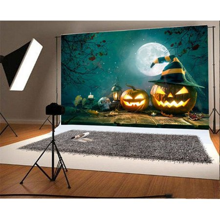 MOHome Polyster 7x5ft Backdrop Photography Background Grimace Pumpkin Lantern with Hat Skulls Halloween Moon Night Spooky Trees Scene Children Trick or Treat Game Party Decorations Photo Stduio Prop