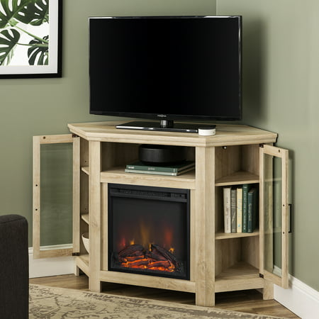 Walker Edison White Oak Corner Fireplace TV Stand for TVs up to 55""