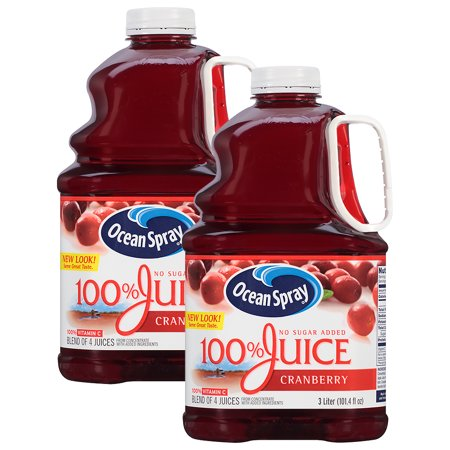 (2 Pack) Ocean Spray 100% Juice, Cranberry, 101.4 Fl Oz, 1 (Best Cranberry Juice For Detox)