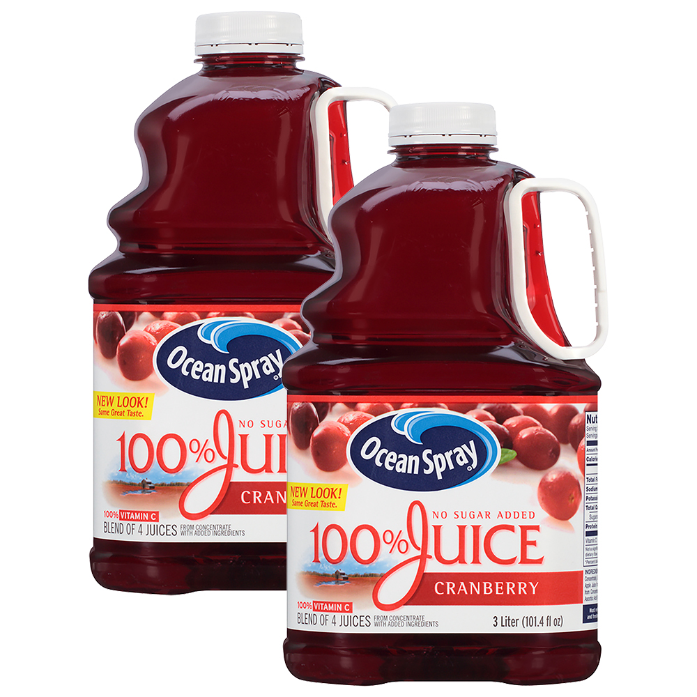 (2 Pack) Ocean Spray 100% Juice, Cranberry, 101.4 Fl Oz, 1 Count