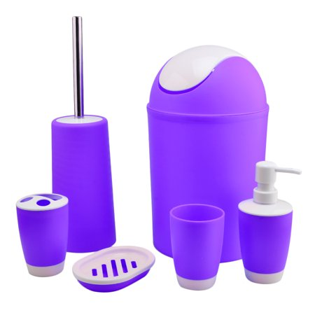6 Piece Plastic Bath Accessory Bathroom Set - Purple ...