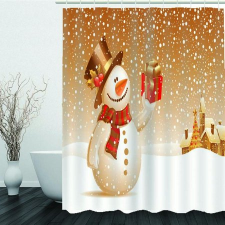 71''x71'' Christmas Golden Snowman Pattern Waterproof Polyester Shower Curtain + 12 Hook Rings Bathroom Set Home Decor Gift](Snowman Bathroom Sets)