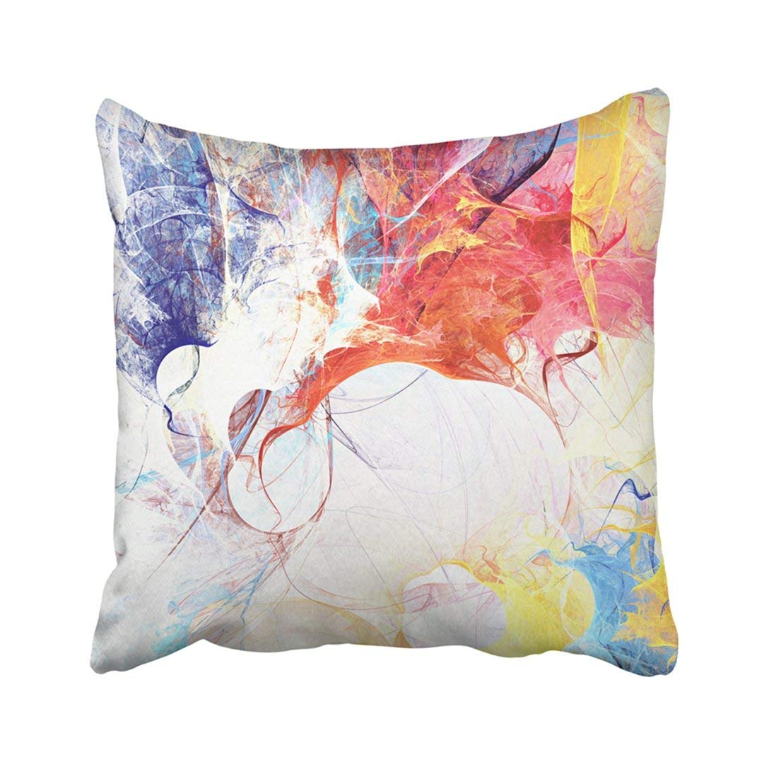 WOPOP Bright Artistic Splashes Abstract Painting Color Modern Futuristic Multicolor Dynamic Pillowcase Throw Pillow Cover Case 20x20 inches