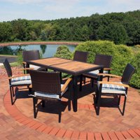 Sunnydaze Carlow 7-Piece Rattan and Acacia Patio Set - Choose Color