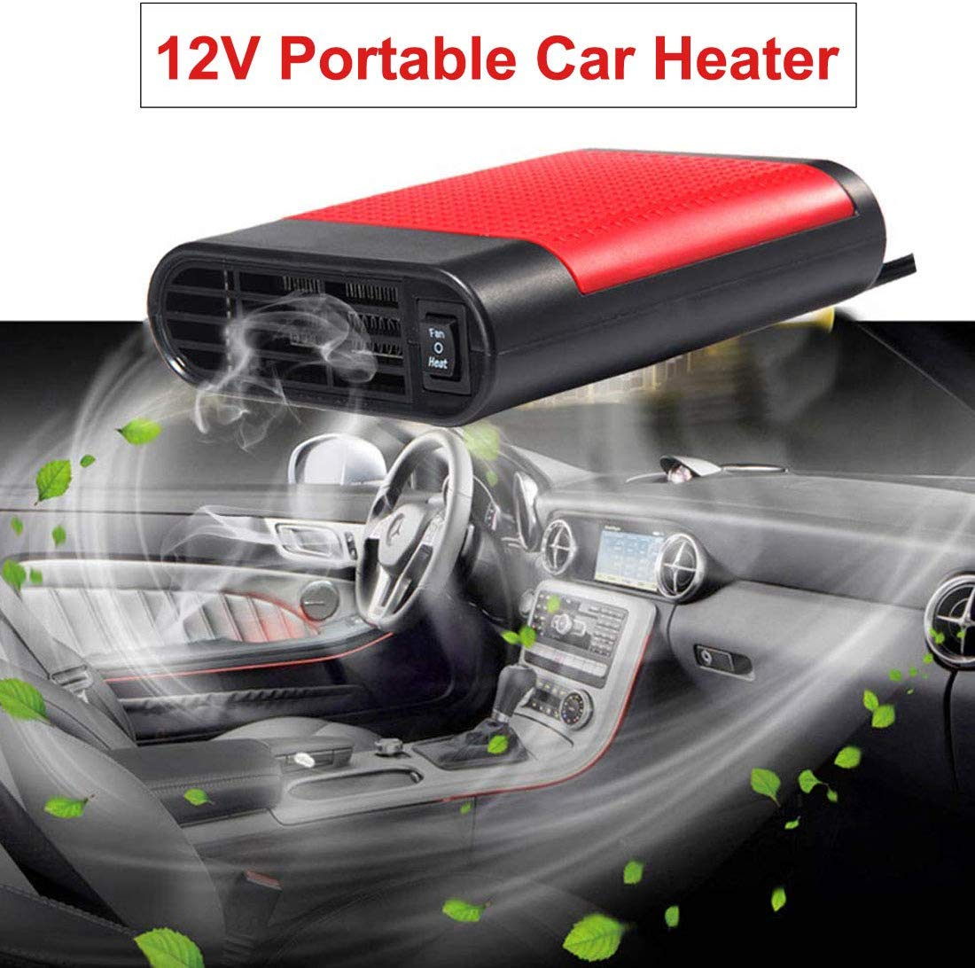 12V Car Heater Fan Demister Defroster Warm Air Blower Car Portable Electric Window Heater Heating Dryer Windshield Fan Defroster Demister Black Red