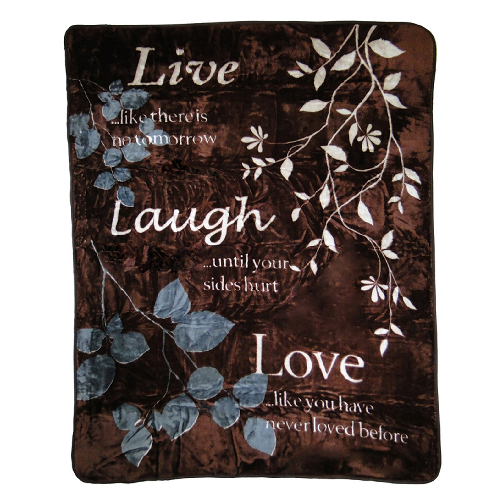 Shavel Home Products Hi Pile Luxury Oversized Throw Live Laugh Love