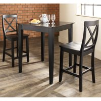 Furniture 3-Piece Pub Dining Set with Tapered Leg and X-Back Stools