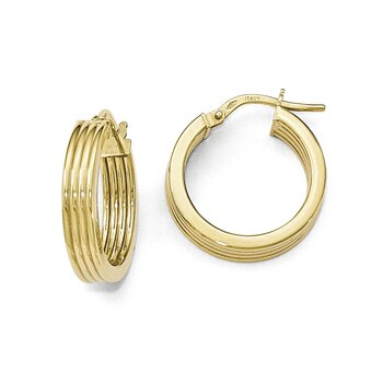 Lex /& Lu 14k Yellow Gold /& Rhodium Textured and Polished Oval Hoop Earrings