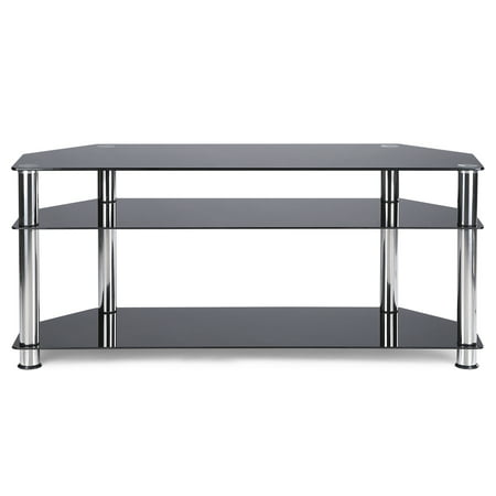 Rfiver Floor Glass Corner TV Stand for TVs up to 55