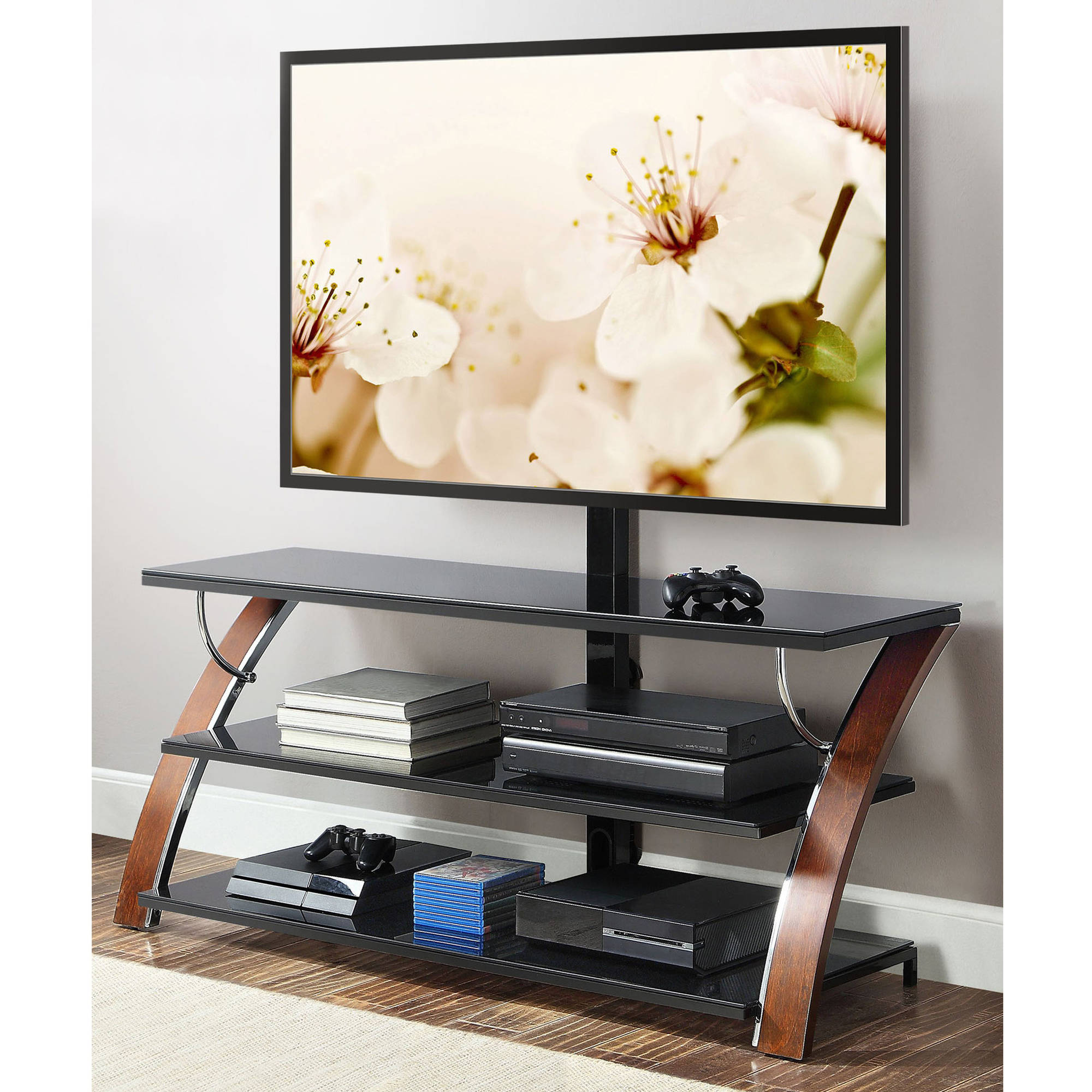 Whalen Payton Brown Cherry 3 In 1 Flat Panel Tv Stand For Tvs Up To 65