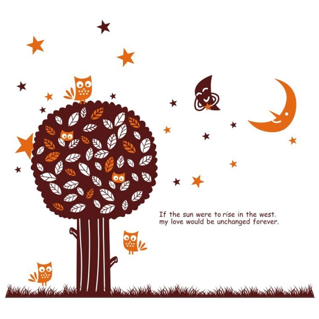 Star Moon Owl Tree Pattern Window Living Room Art Decal Wall Sticker Decor