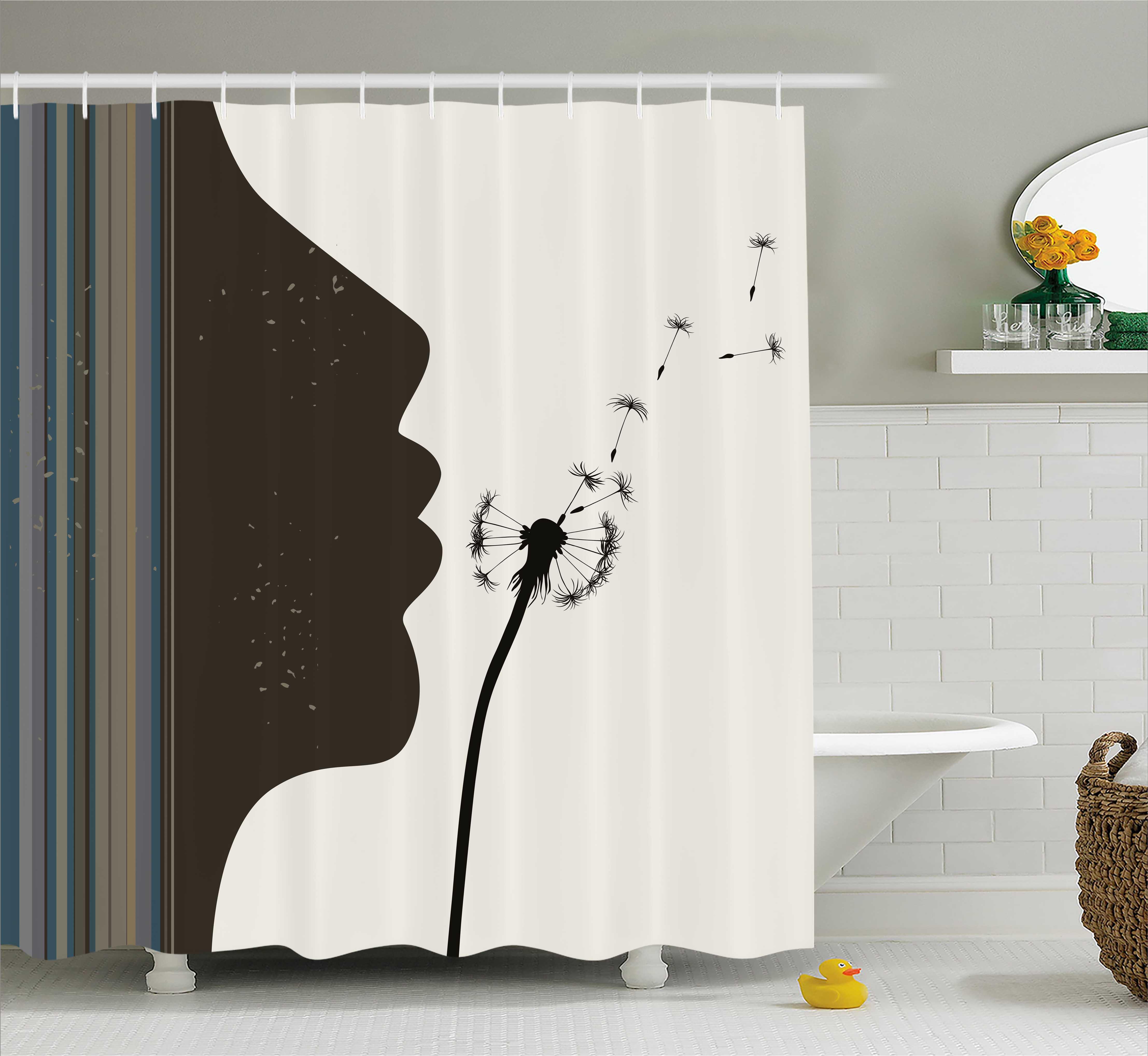 Modern Shower Curtain, Silhouette of a Woman Girl Portrai...