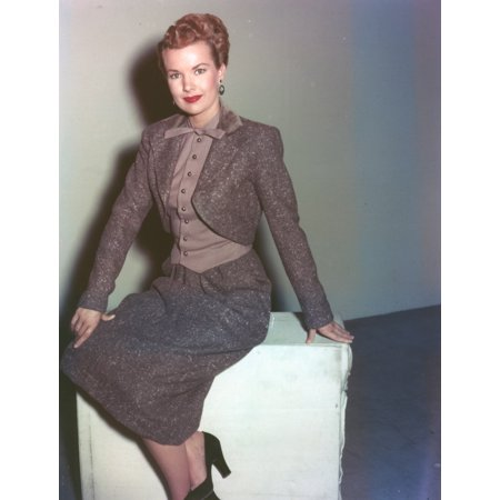 Gale Storm Posed in Gray Suit Portrait Photo Print - Pope Suit