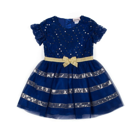 Short Sleeve Mesh Overlay Special Occasion Holiday Dress (Baby Girls & Toddler Girls)