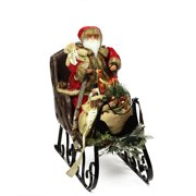"""28"""" Traditional Plush Santa Claus in Sleigh with Gift Bag Statue"""