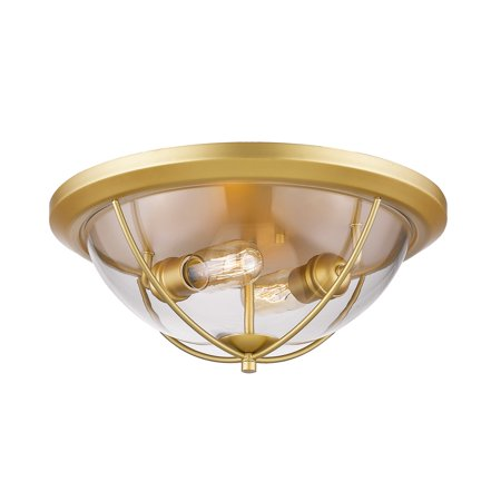 Flush Mounts 2 Light With Satin Gold Finish Steel Medium Base Bulb 15 inch 120 Watts