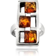 Sterling Silver Square Frame Three-Stone Ring, Size 6
