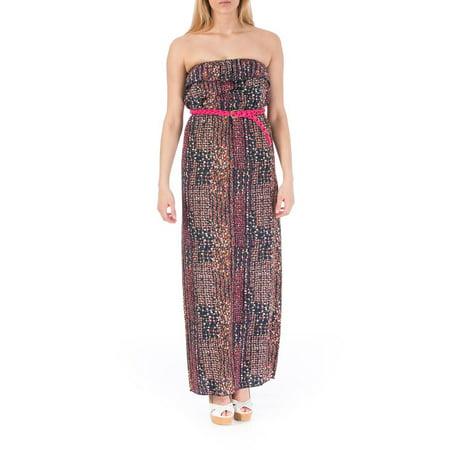 749182246e1 Trixxi - Trixxi Womens Juniors Strapless Printed Maxi Dress - Walmart.com