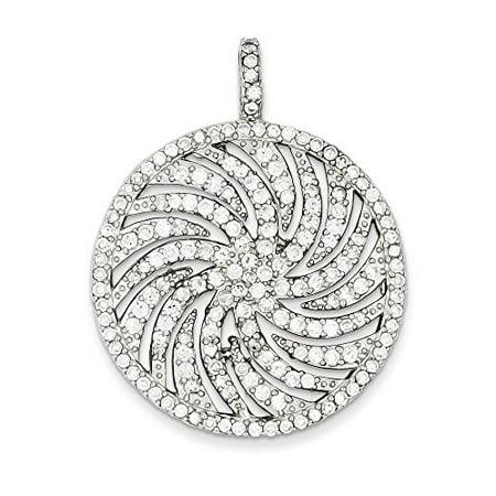 .925 Sterling Silver CZ Large Circle Swirl Charm (Swirl Leaf Pendant)