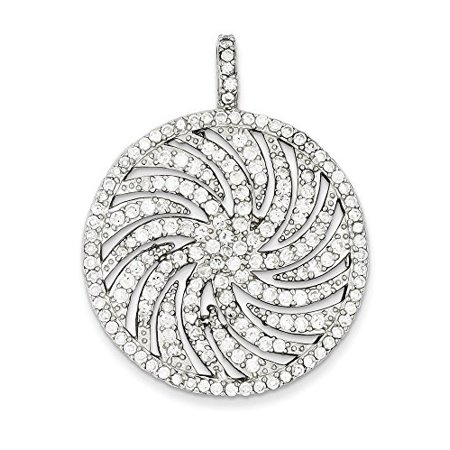 .925 Sterling Silver CZ Large Circle Swirl Charm (Medium Circle Pendant)