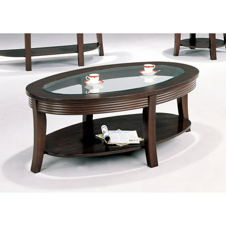 Super Coaster Furniture Oval Coffee Table With Glass Top Cappuccino Alphanode Cool Chair Designs And Ideas Alphanodeonline