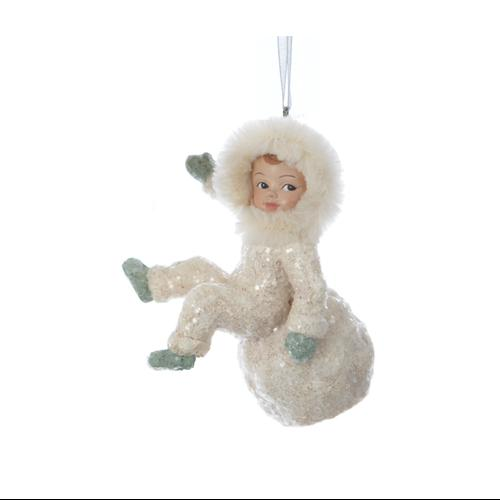 "3.25"" Silent Luxury Vintage-Style Sitting Snow Child Christmas Ornament"