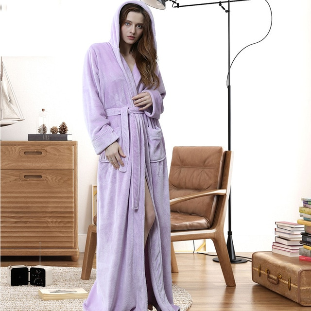Women Men Dressing Gown Hooded Fleece Fluffy Belt Warm House Bath Robe Nightwear