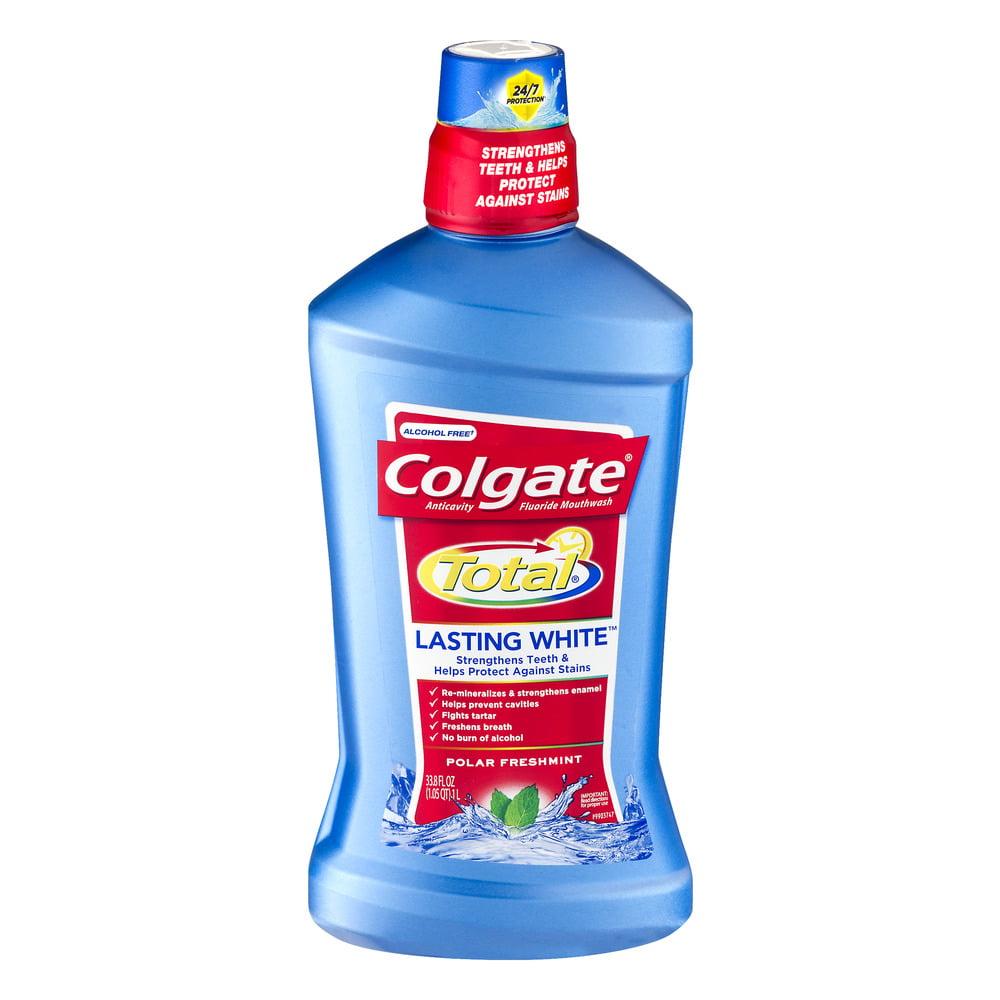 Colgate Total Lasting White Mouthwash Polar Freshmint, 33.8 FL OZ