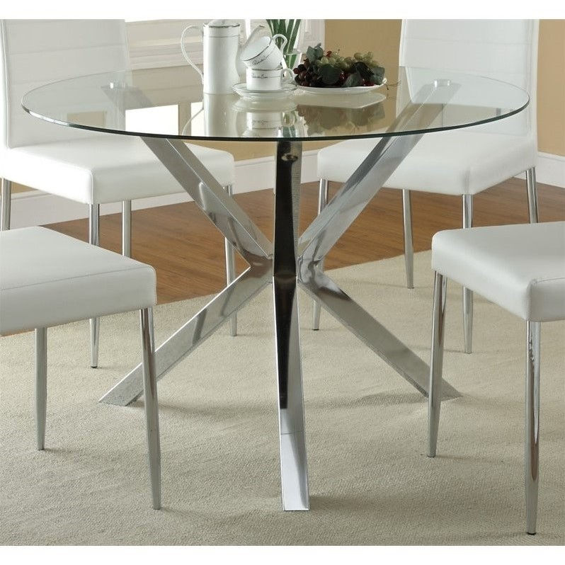 Coaster Vance Contemporary Glass Top Round Dining Table in Chrome by Coaster