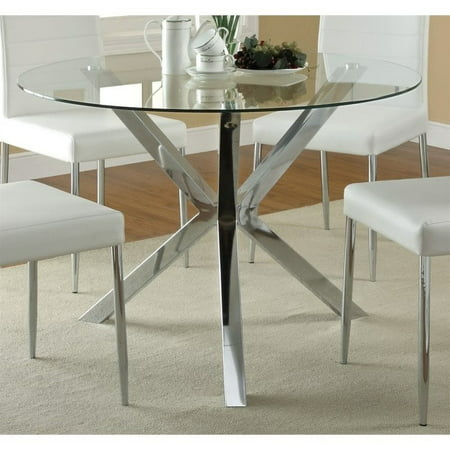 Oval Clear Glass Dining Table (Coaster Vance Contemporary Glass Top Round Dining Table in Chrome )