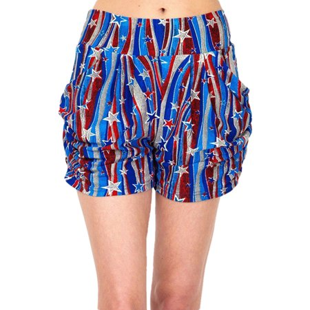 Womens Regular Flying Star 4th of July Printed Pleated Pockets Harem Shorts - L/XL