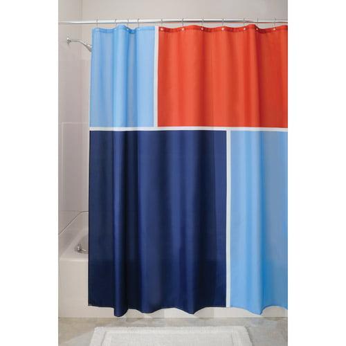 InterDesign Shower Curtain, Blue/Red Color Block