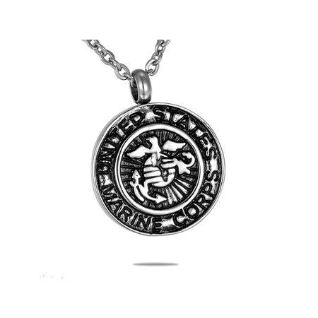 US Marine Corps Badge Round Cremation Jewelry Keepsake Memorial Urn Necklace
