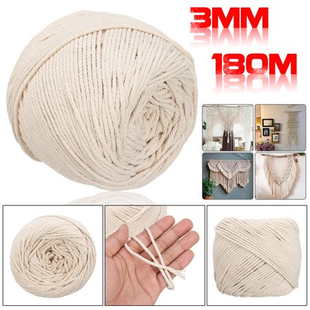 3mm 180M  Macrame String Rope Natural Beige Cotton Twisted Cord Hand Craft DIY 500g (Twisted Natural)