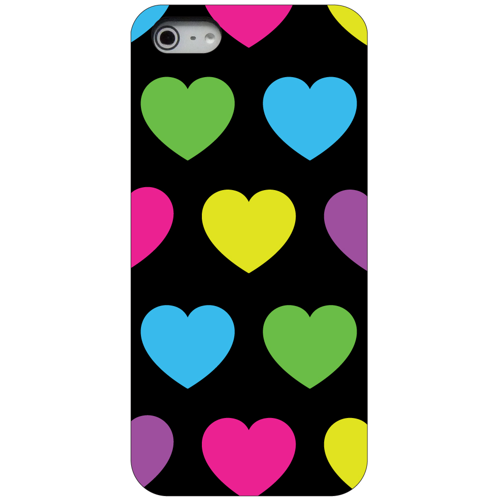 CUSTOM Black Hard Plastic Snap-On Case for Apple iPhone 5 / 5S / SE - Black Multi Color Hearts