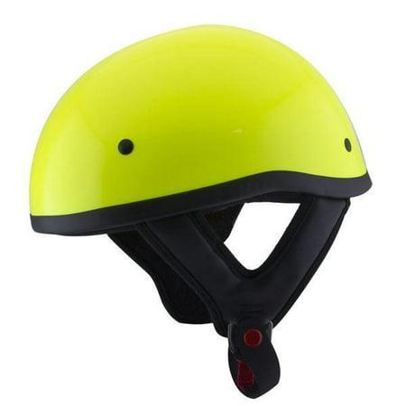 Outlaw Helmets Outlaw T68 DOT Hi-Vis Yellow Motorcycle Skull Cap Half Helmet Neon Yellow Small