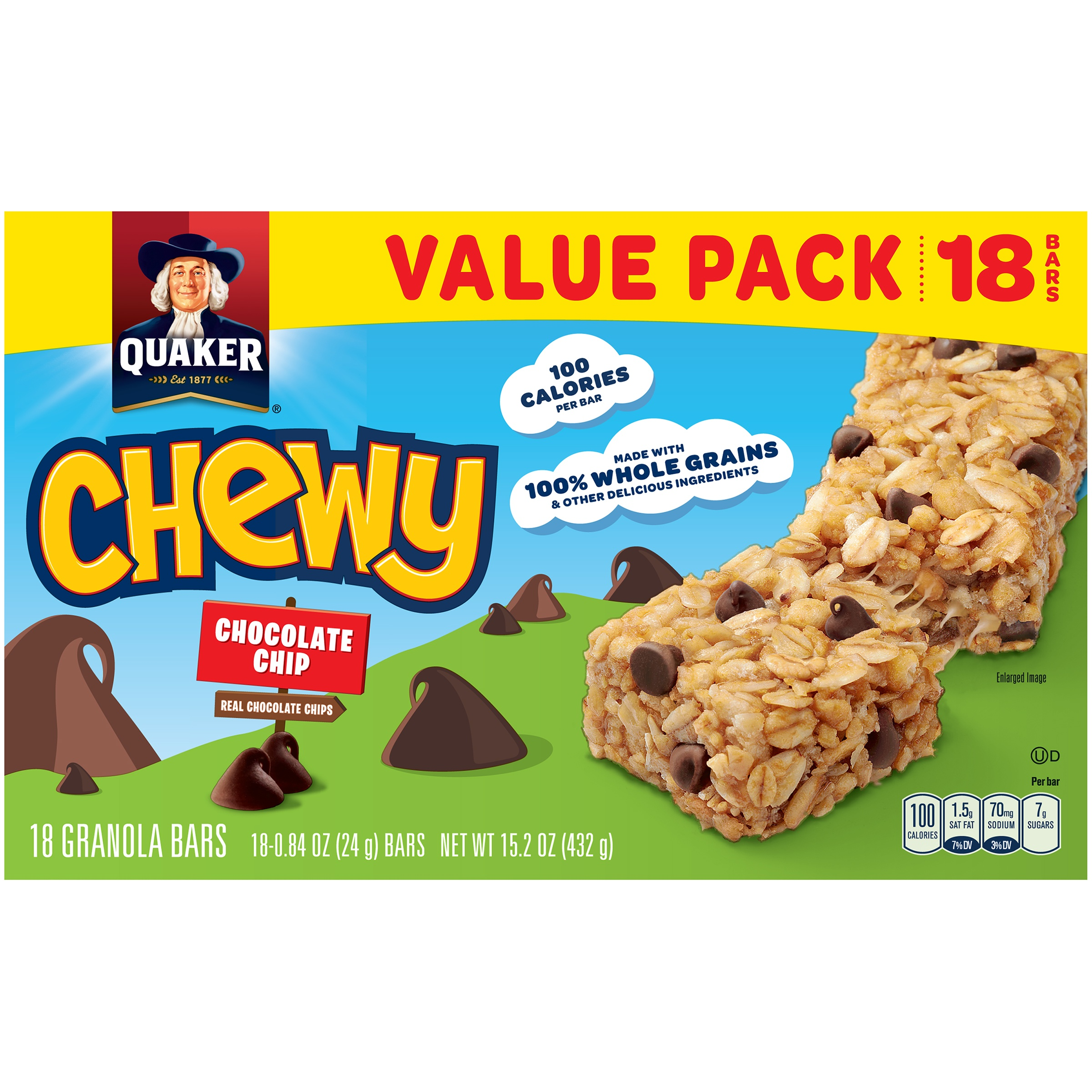 Pc chocolate chip granola bars nutrition facts