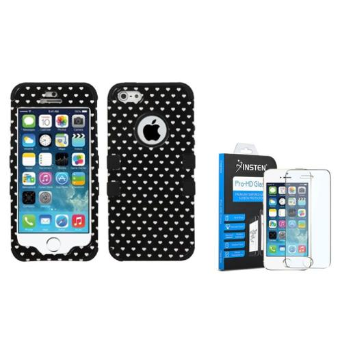 Insten Black Vintage Heart Dots/Black Hybrid Tuff Dual-Layer Case For iPhone SE 5S 5 (+ Tempered Glass Screen Protector)
